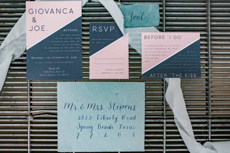 Modern two tone invitation suite at Park 31 by CalliRosa custom wedding invitations in San Antonio Texas