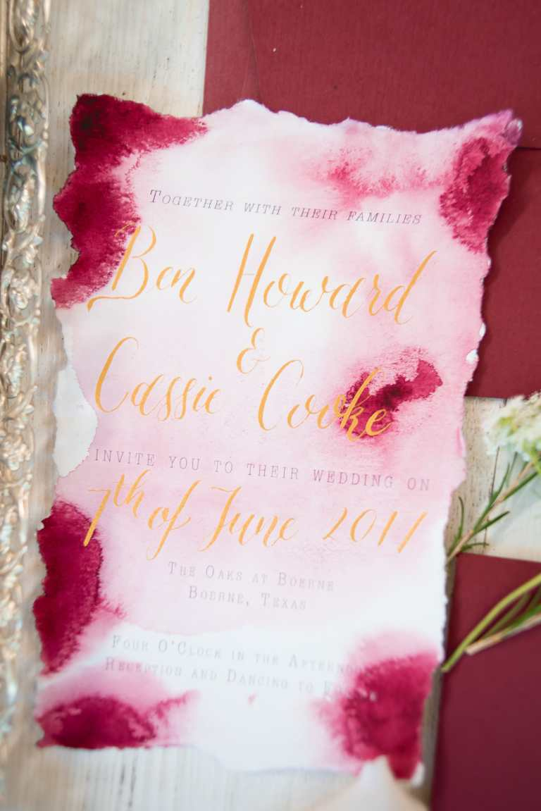 Pink Blush Red Burgundy Watercolor Invitation with Gold Calligraphy at The Oaks at Boerne by CalliRosa Custom wedding invitations in San Antonio Texas