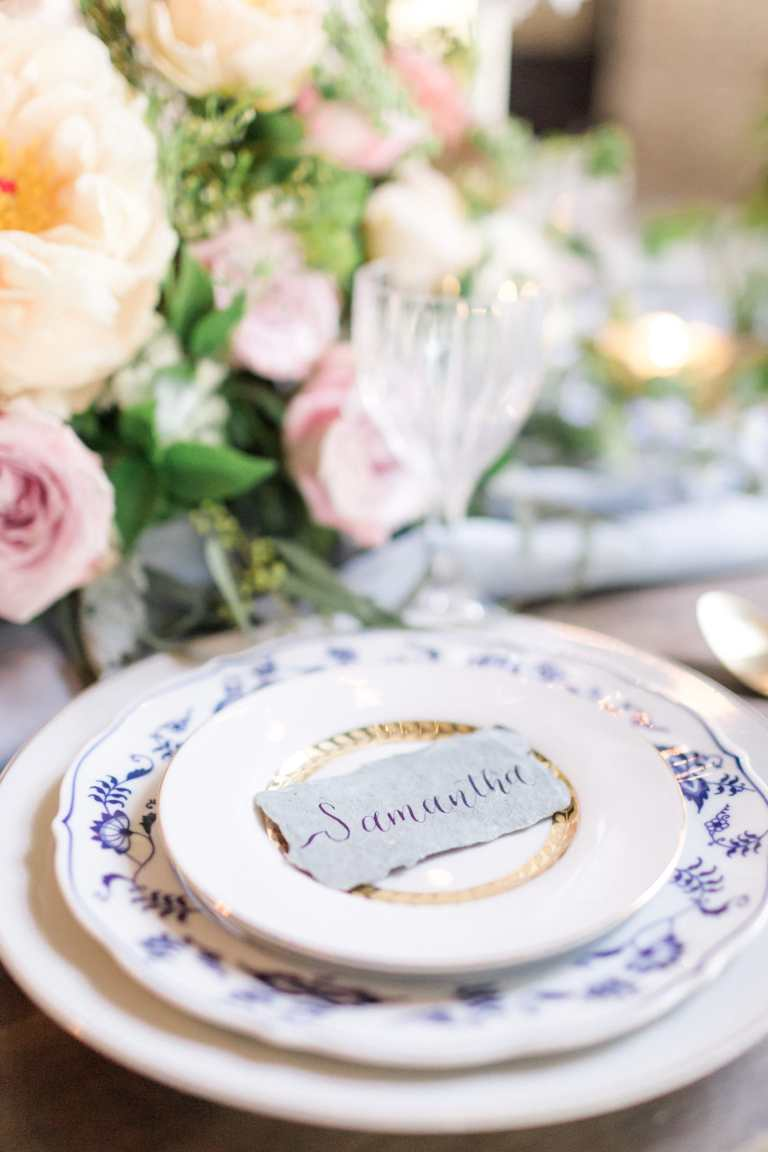 Powder Blue Handmade Paper Placecard with Navy Calligraphy at Park 31 by CalliRosa Calligrapher in San Antonio Texas