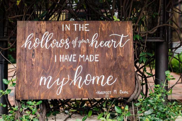 Wooden Romantic Quote Home Sign by CalliRosa Calligrapher in San Antonio Texas