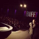NORWAY: Frank Mugisha talks to 500 schoolchildren after a screening at the Bergen Film Festival, October 2012