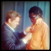 HOLLYWOOD: Josh Welsh, co-president of Film Independent, adjusts Long Jones' tie before a private screening