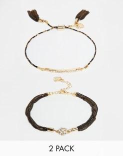 Bracelet à superposer avec barre et cristaux, Love Rocks, 34,99 euros