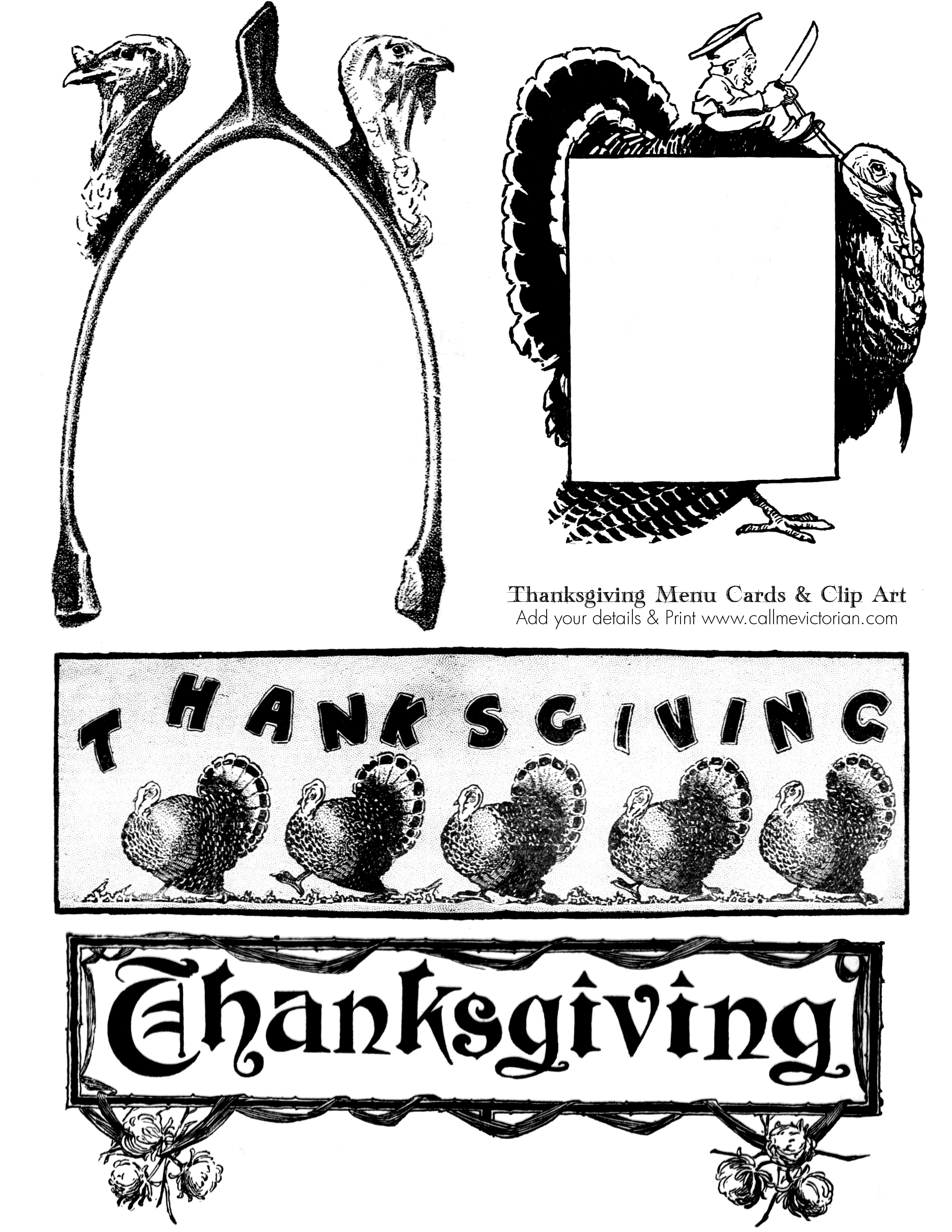 Printable Thanksgiving Menu Card Amp Vintage Clipart