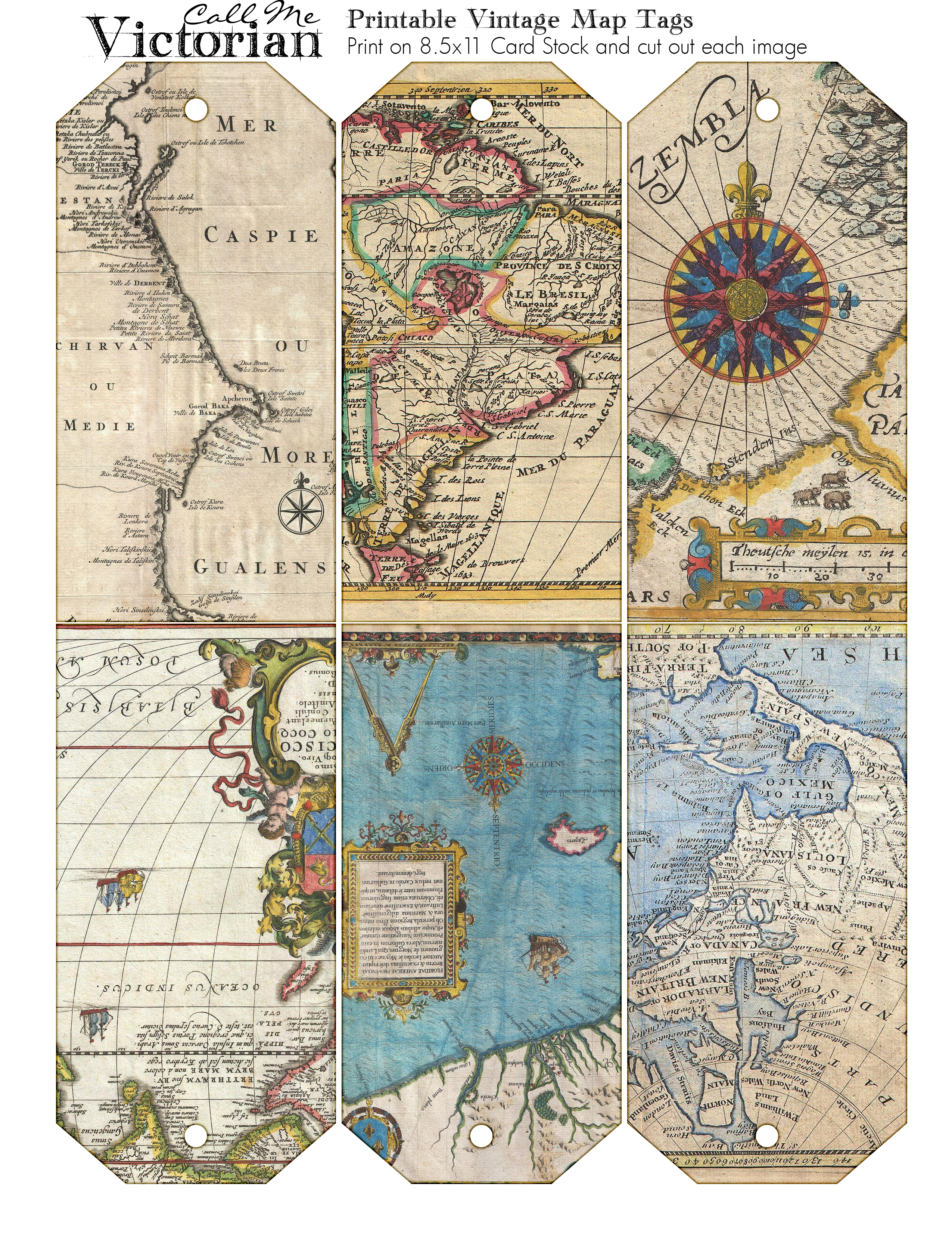 Printable Vintage Map Tags