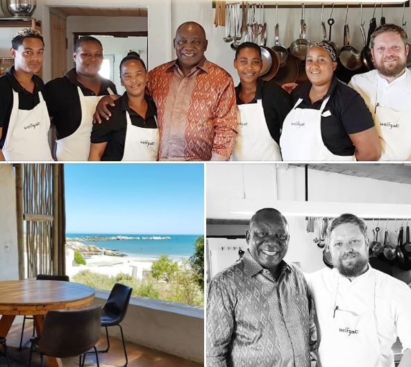 Cyril Ramaphosa and staff at Wolfgat restaurant