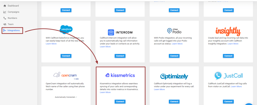 Integrate CallRoot to Kissmetrics