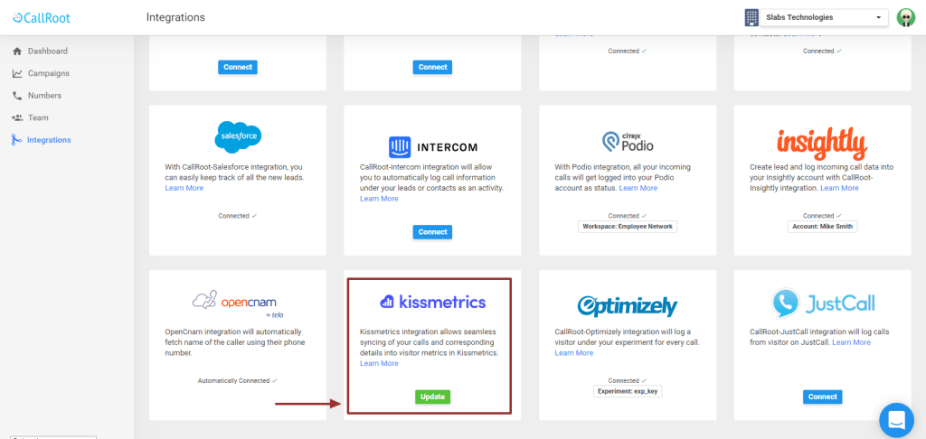 kissmetrics integration with callroot