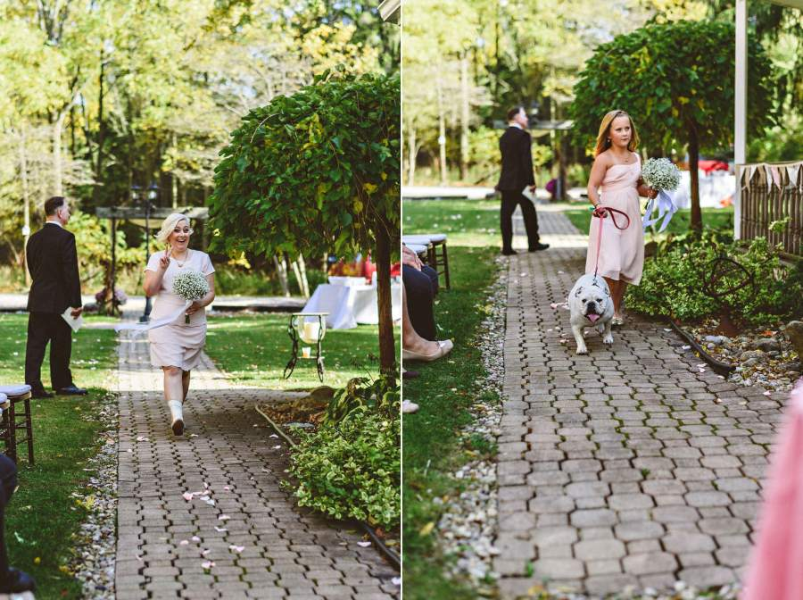 bridesmaids and dog walking down aisle