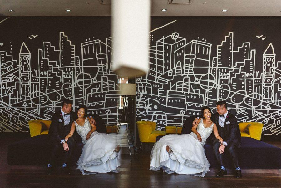 Thompson Hotel Wedding of bride and groom