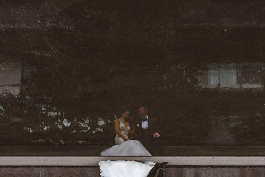 Cool reflection image of wedding couple