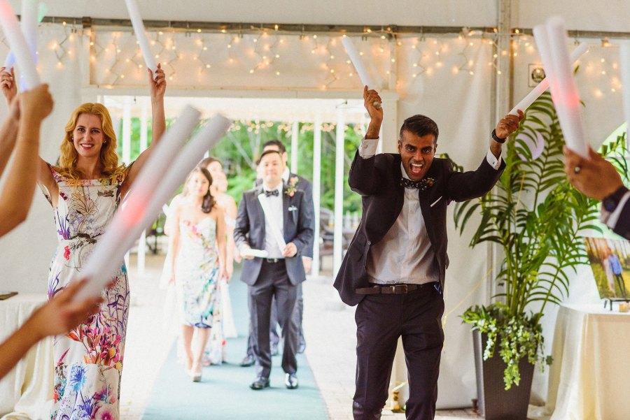 wedding party entrance at Pheasent Run Golf Course Wedding