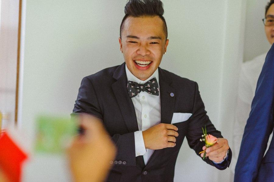 groomsmen laughing Pheasent Run Golf Course Wedding