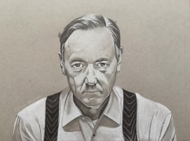 Kevin Spacey. Black and white on grey paper