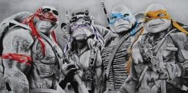 Teenage Mutant Ninja Turtles! Charcoal and prismacolour pencils on paper