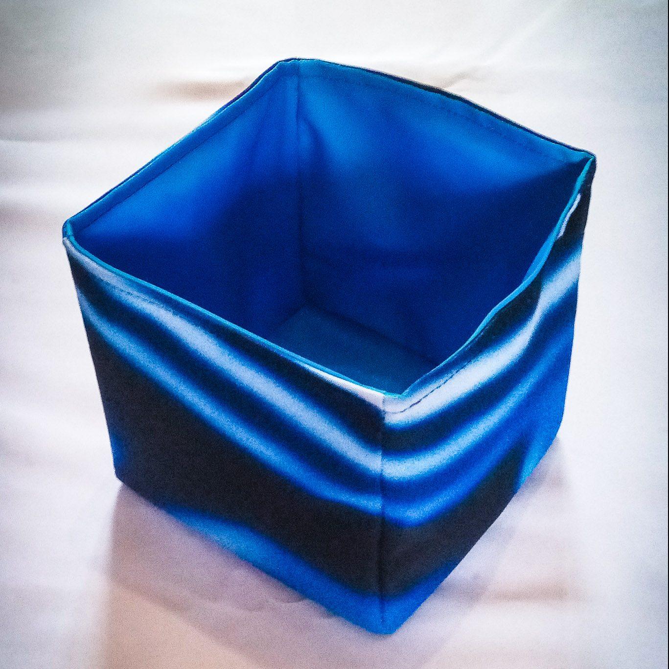 Handmade Fabric Square Box, Circuits/Blue