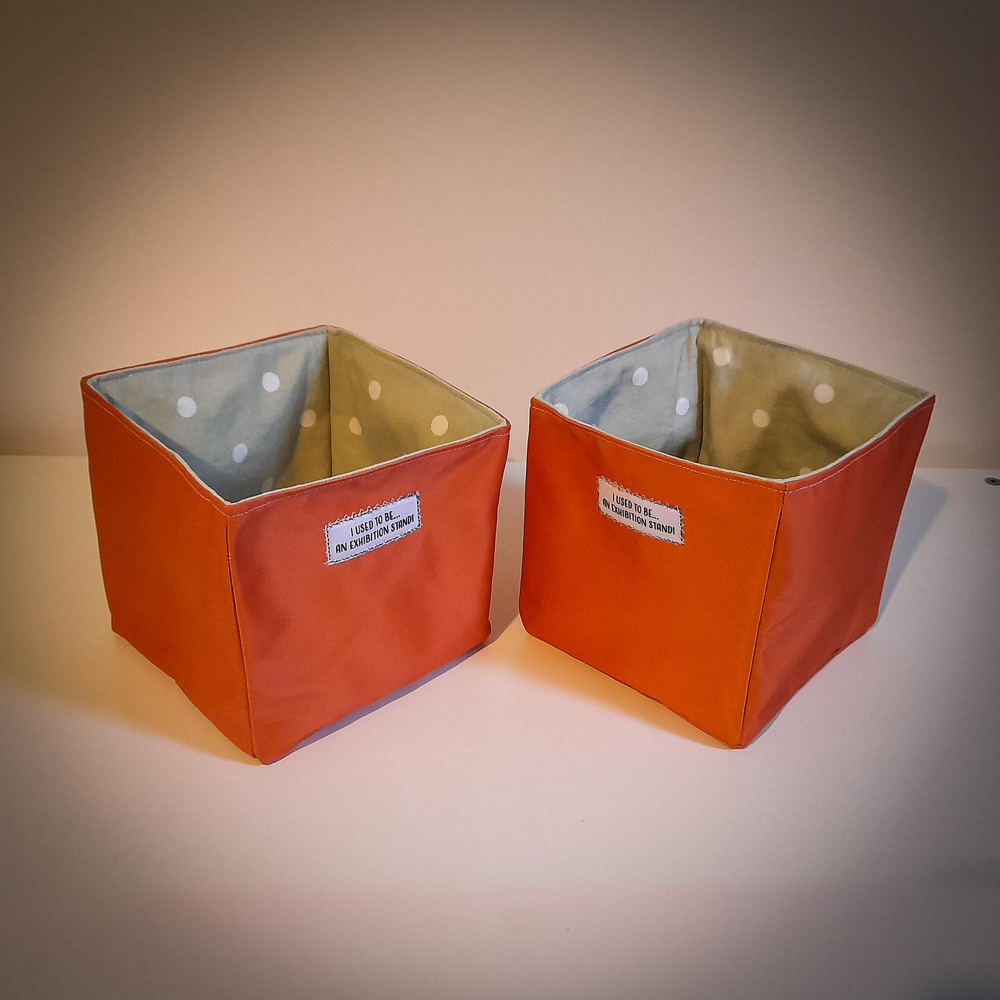 Handmade Fabric Square Box, Orange / Pale Green Pokka Dot