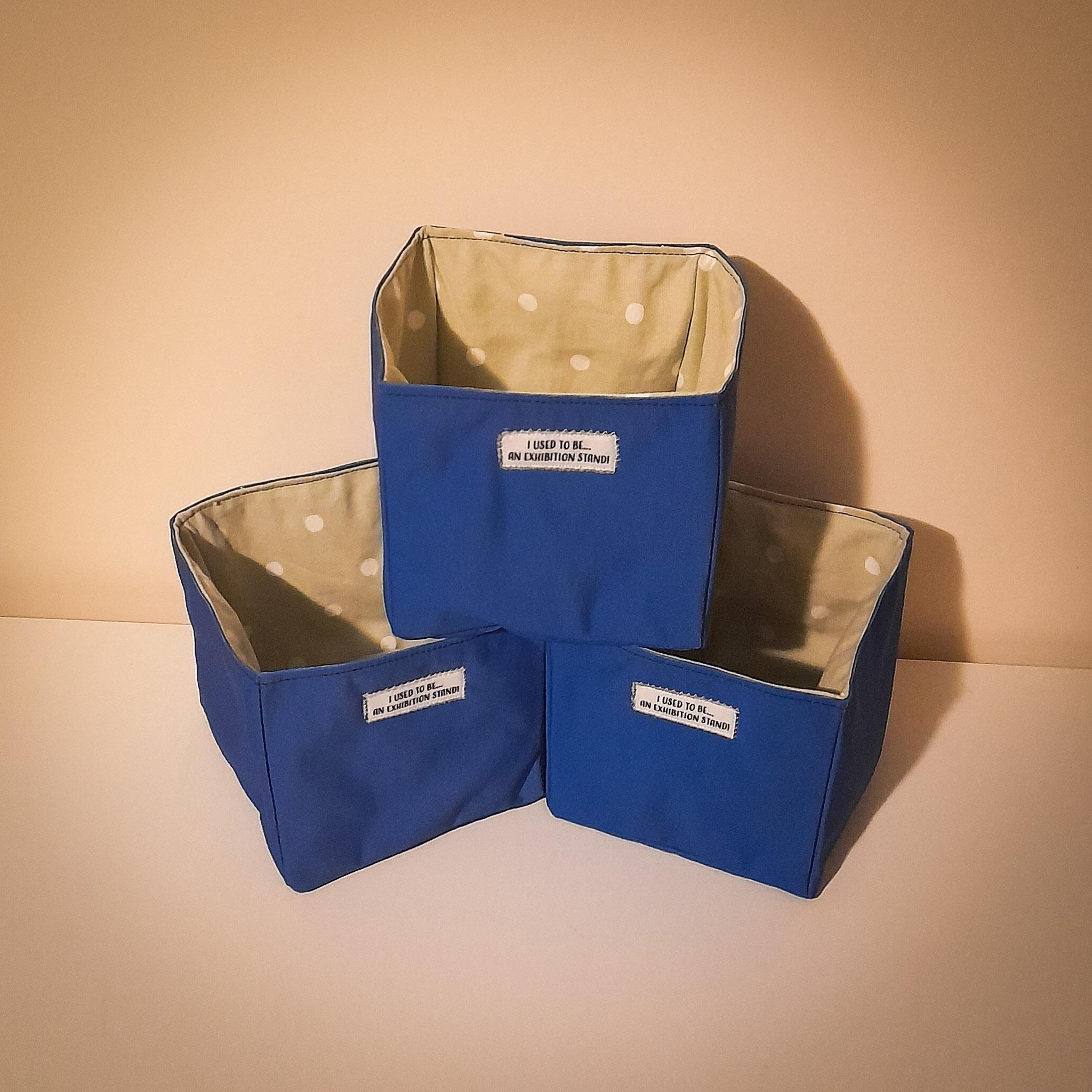 Handmade Fabric Square Box, Blue / Pale Green Pokka Dot
