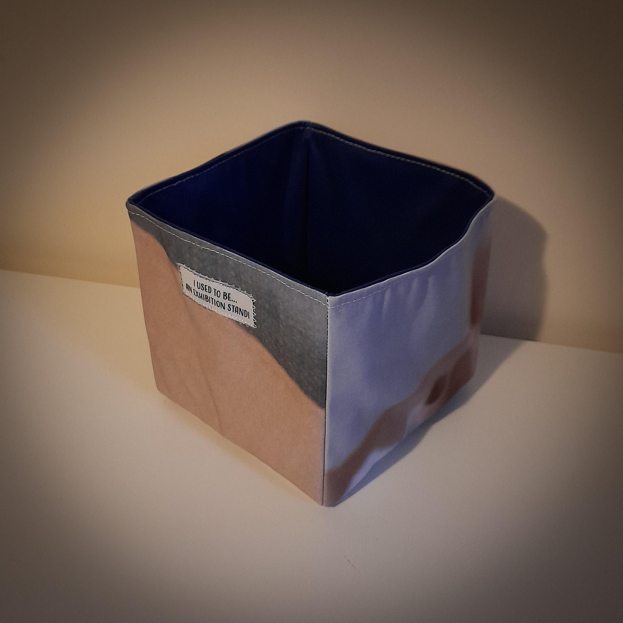 Handmade Fabric Square Box, Dark Grey & Cream / Dark Blue 2