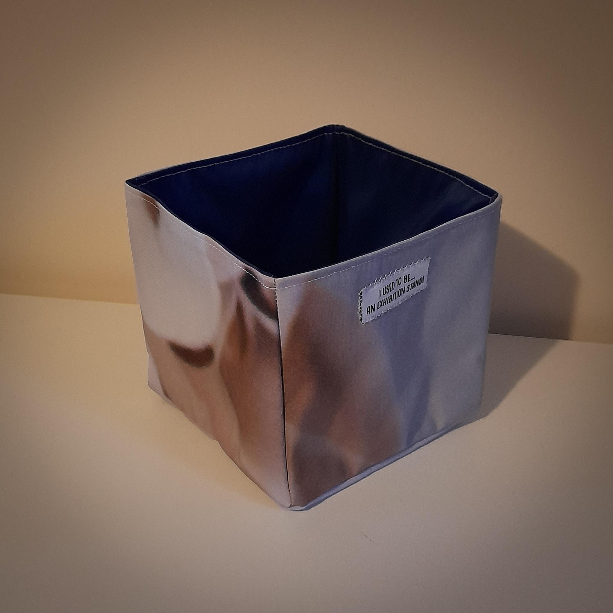 Handmade Fabric Square Box, Grey & Cream / Dark Blue