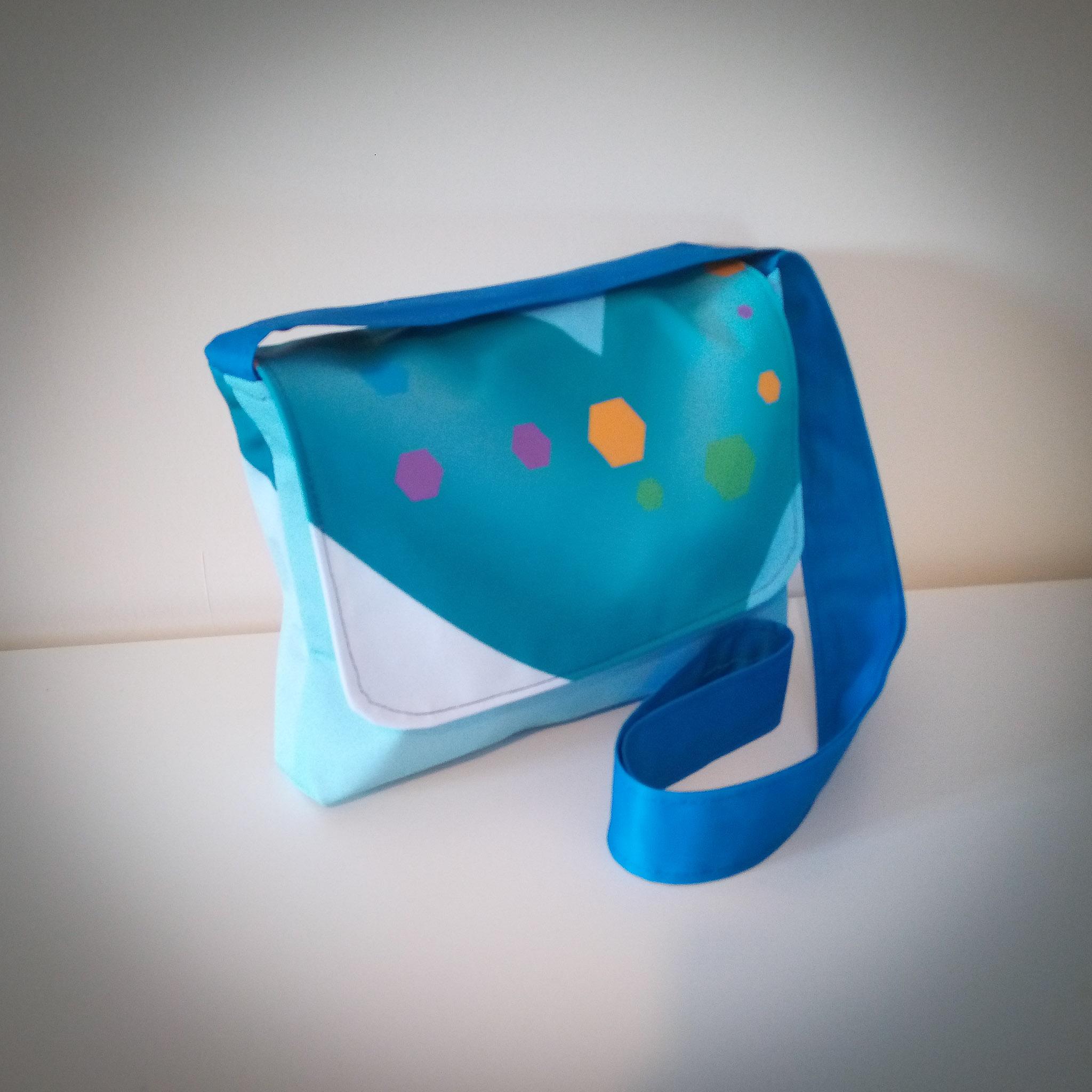 Handmade Fabric Cross Body Handbag, Green V / Blue