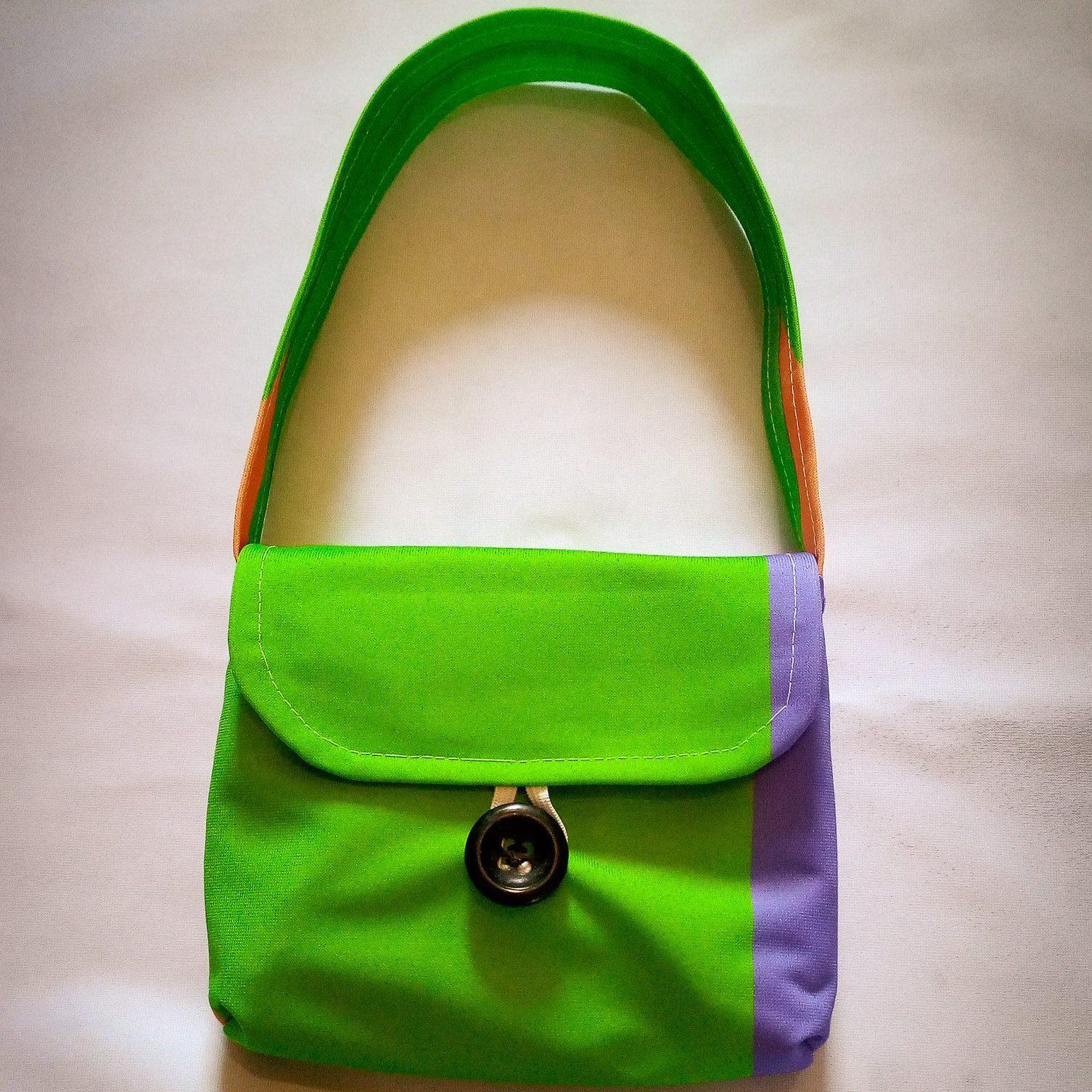 Handmade Fabric XS Handbag, Green, Purple & Orange