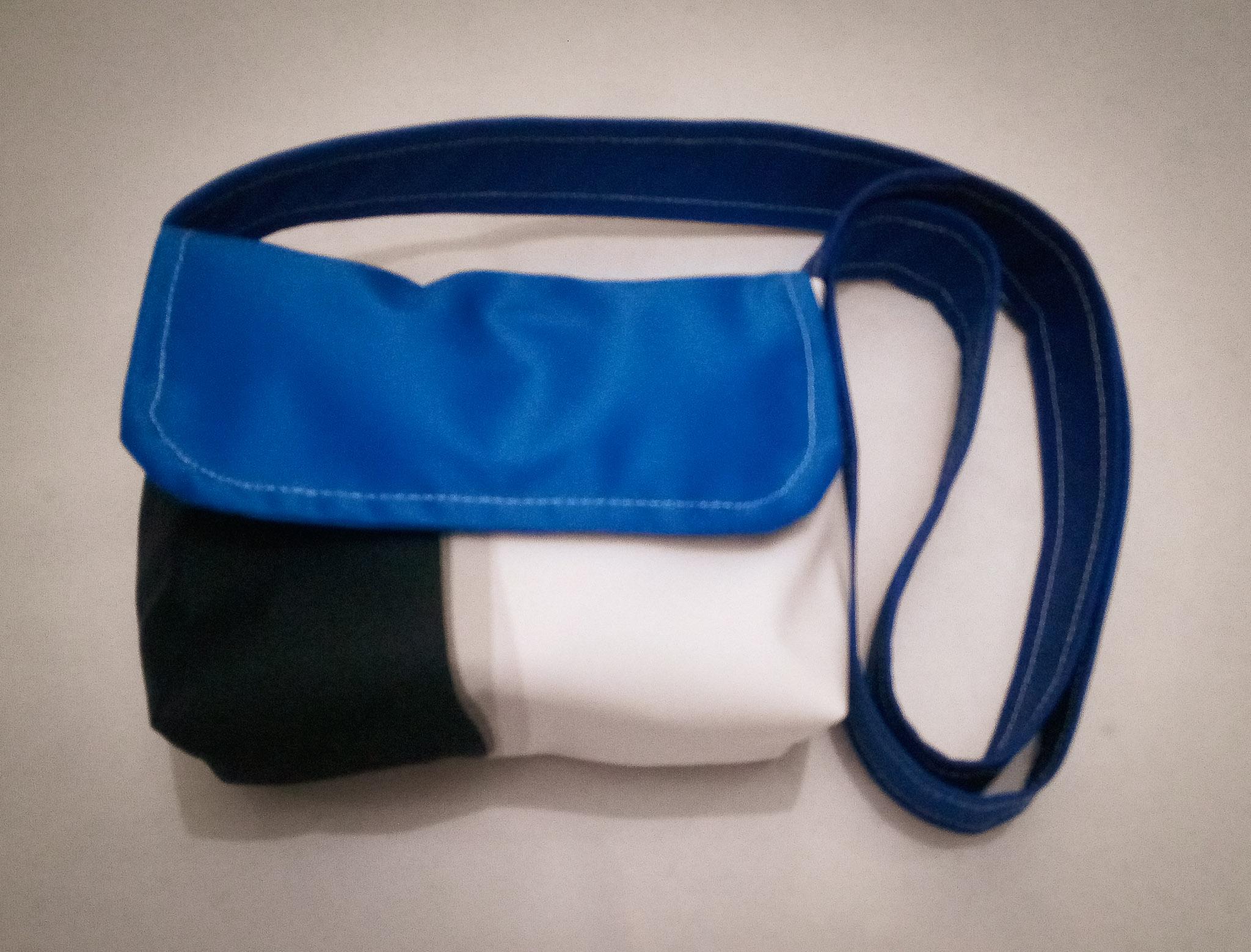 Handmade Fabric Cross Body Small Handbag, White, Black & Blue