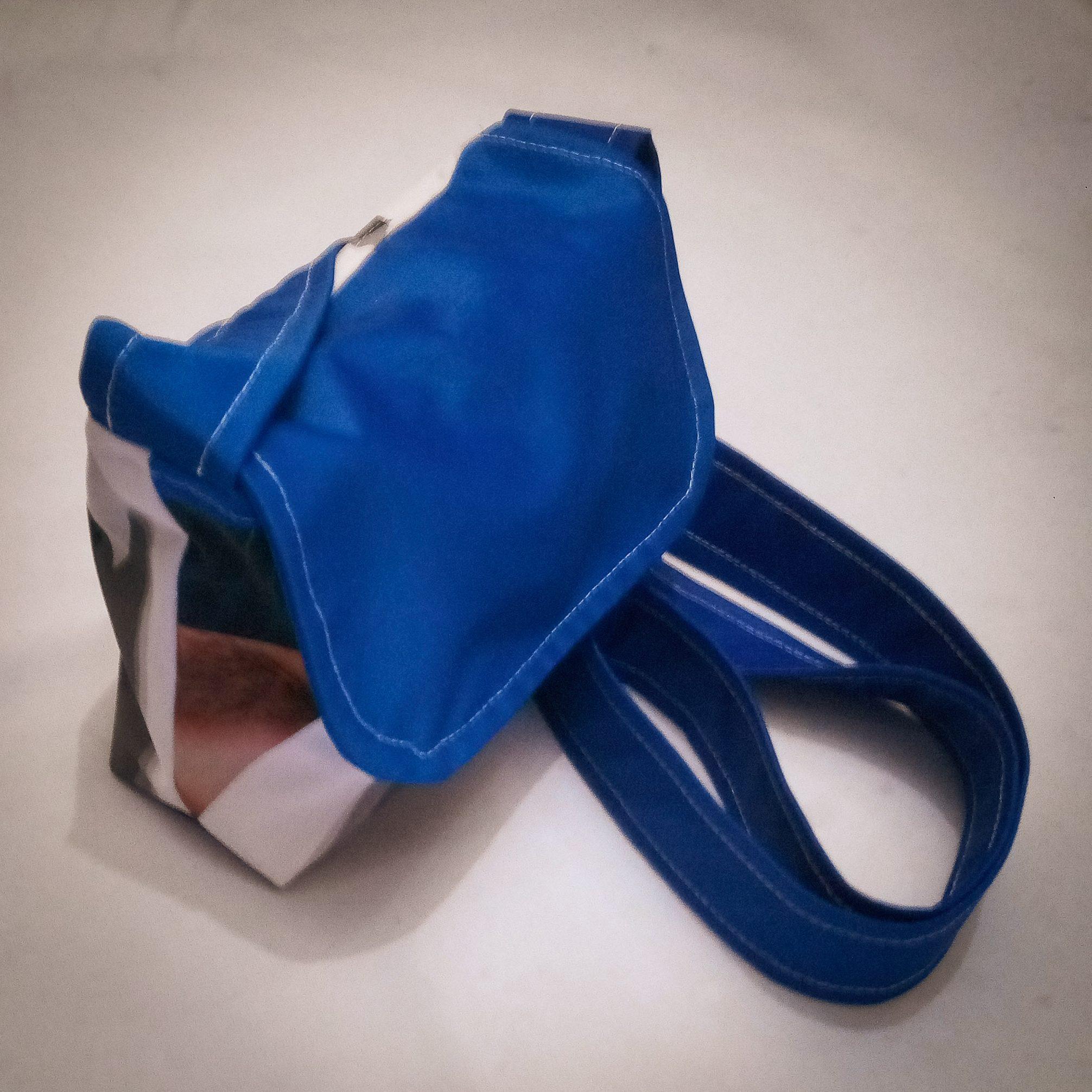 Handmade Fabric Cross Body Small Handbag, White, Black & Blue 2