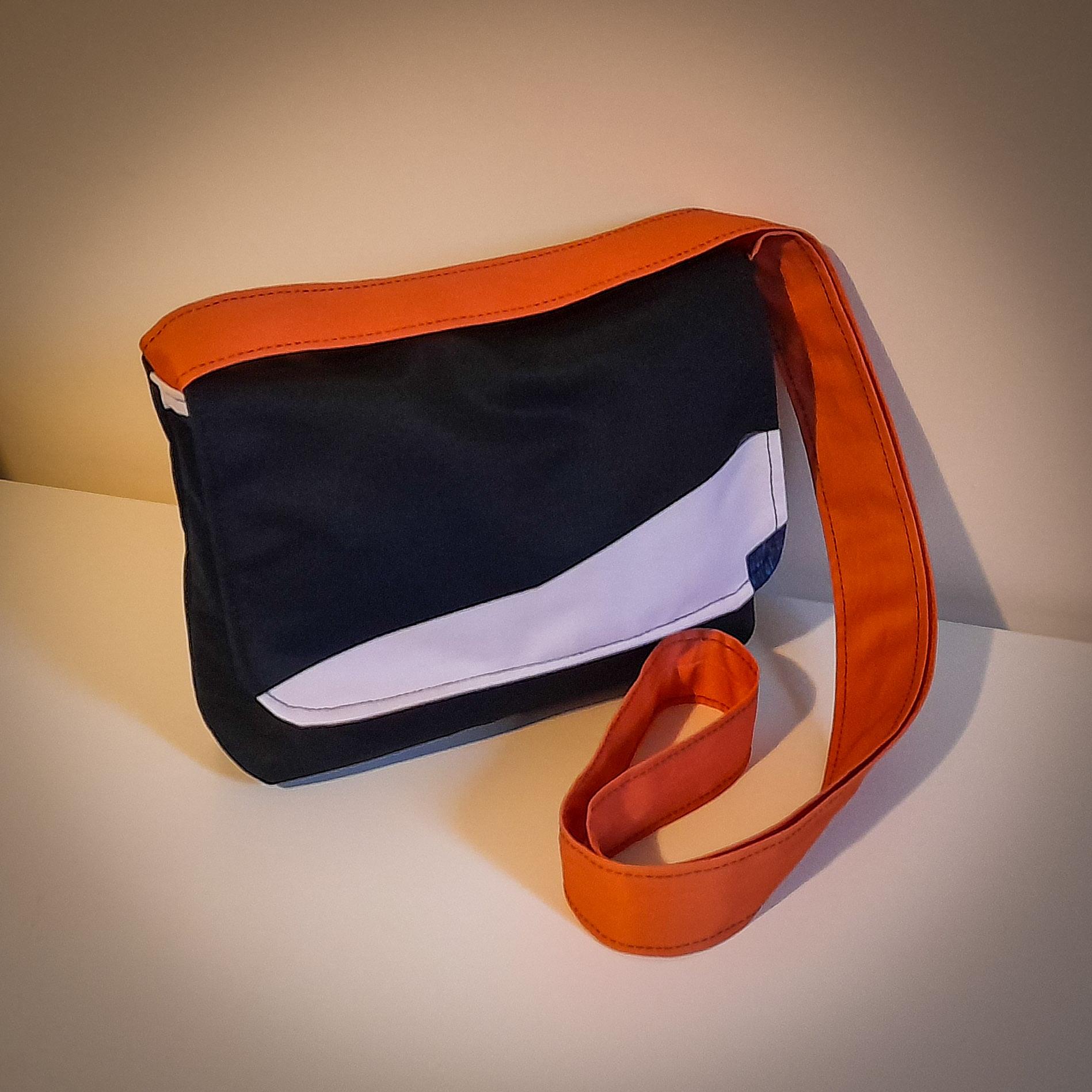 Handmade Fabric Cross Body Handbag, Black & White / Orange