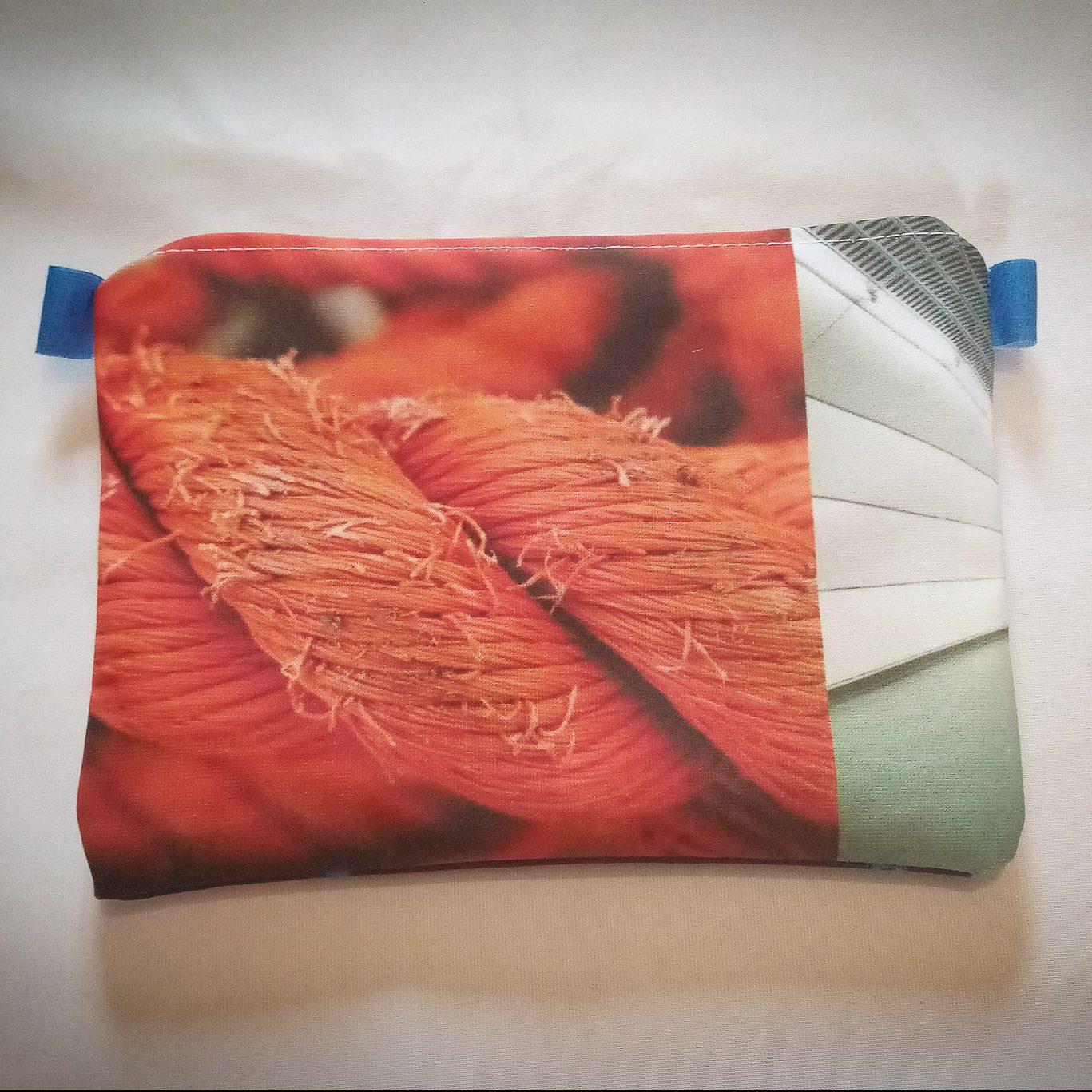 Handmade Fabric Lined Pencil Case/Makeup Bag, Rope/Blue