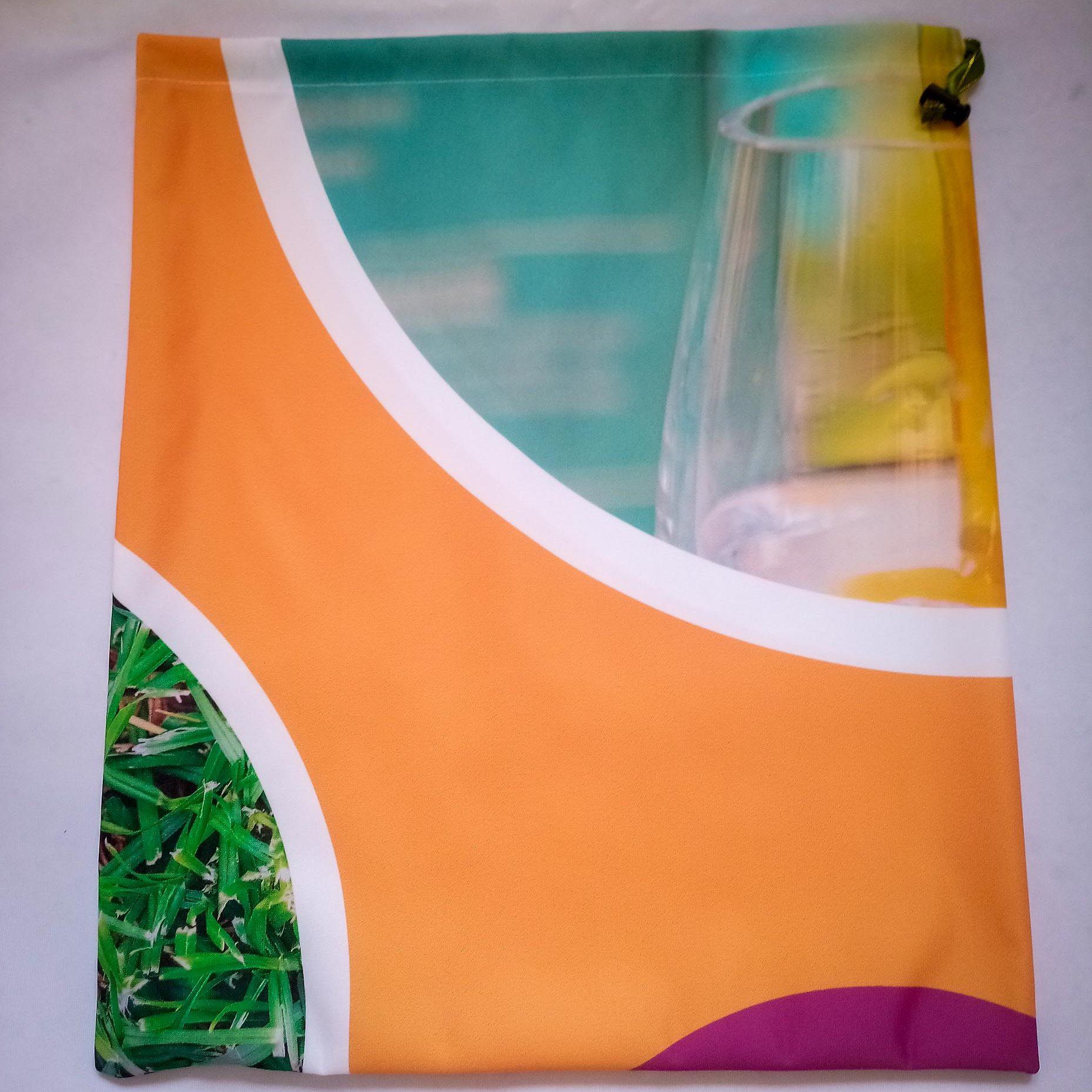 Drawstring Bag… Orange & Glass Circles