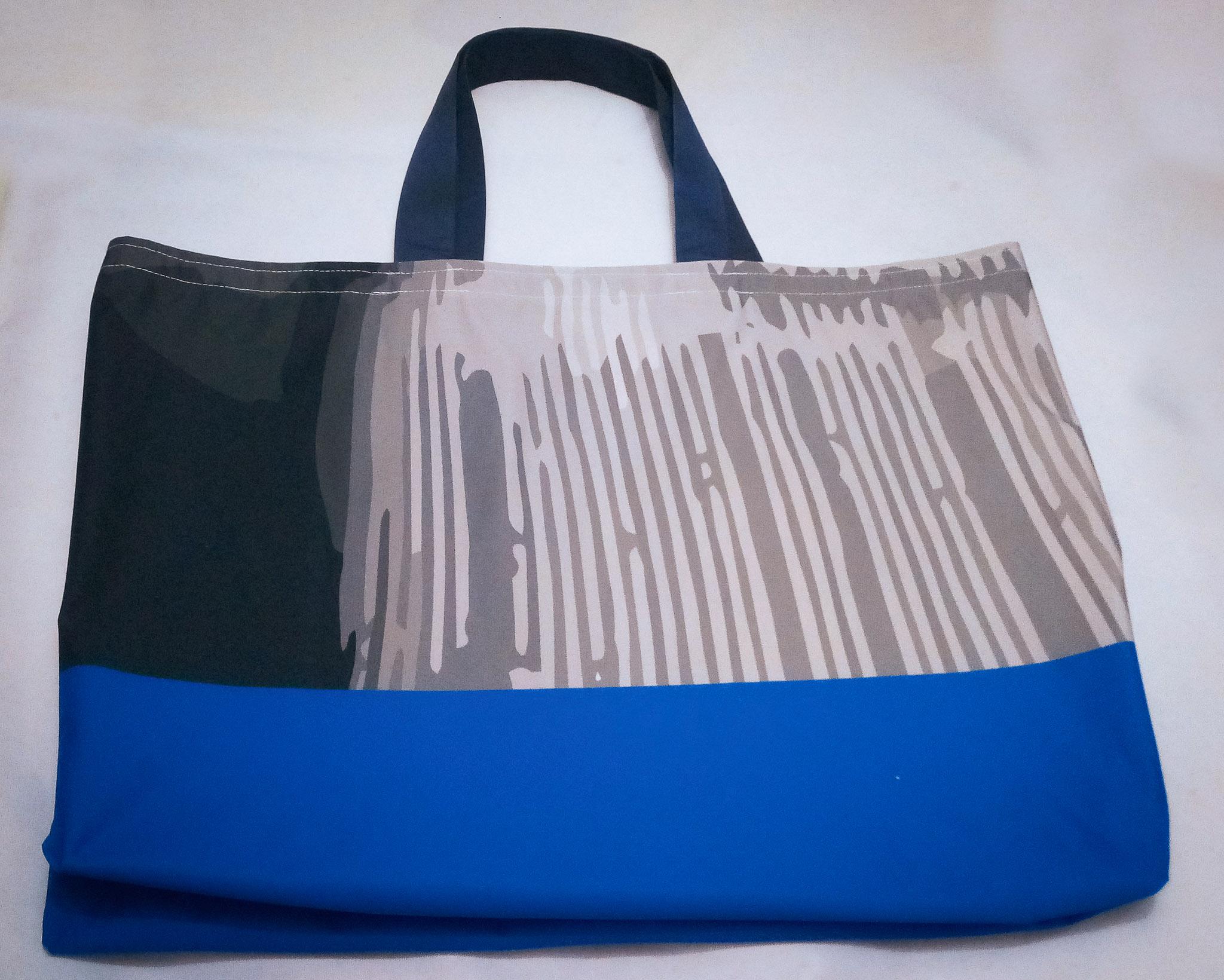 Handmade Fabric Tote Bag, Blue & Grey Stripe
