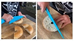 Cutting rainbow shaped Bagel