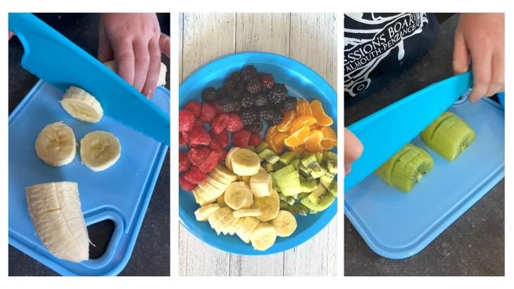 rainbow fruit bagels ingredients - 5 fruits