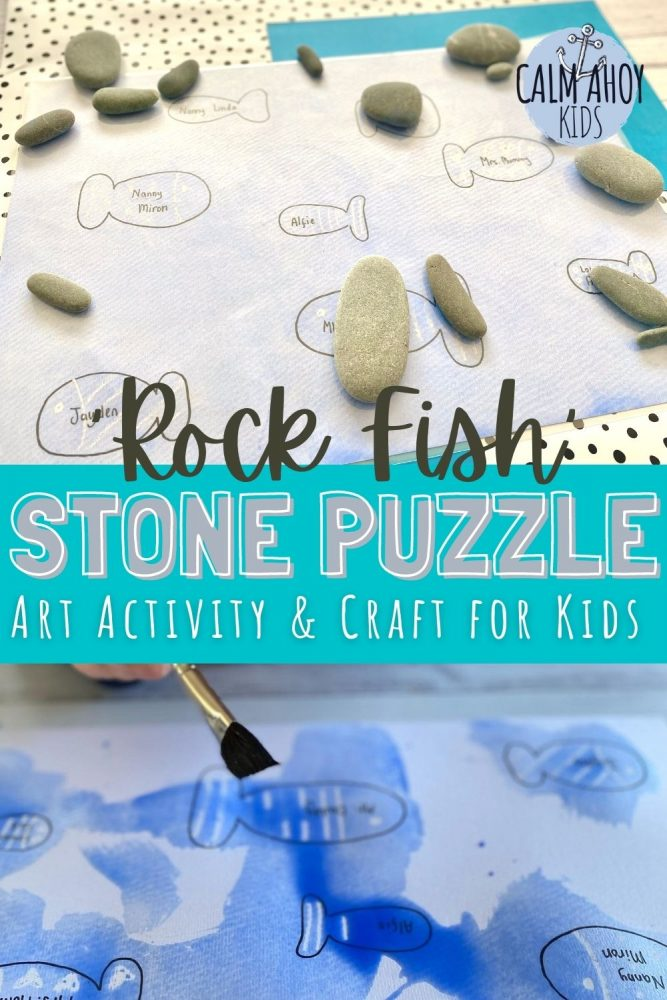 Simple DIY 'Rock Fish' stone puzzle and art activity