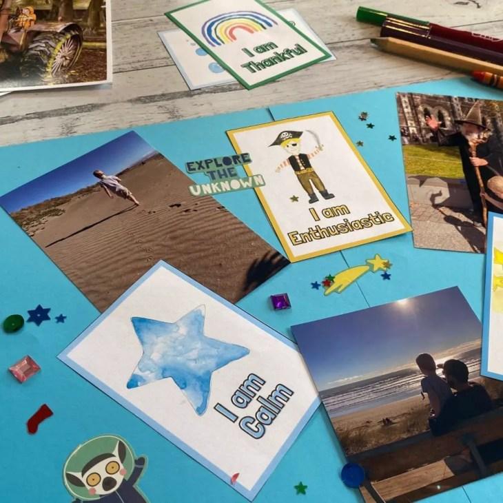 Affirmation Vision board collage craft for kids