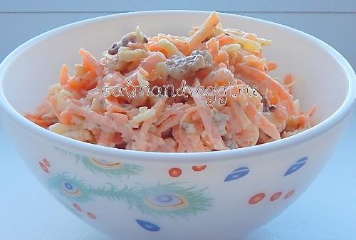 Салат из моркови с сыром и грецкими орехами. Рецепт.
