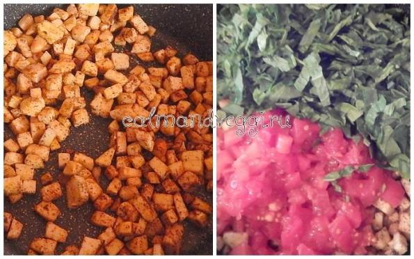 Нут с овощами и шпинатом. Пошаговый рецепт с фото.