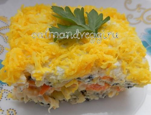 Вегетарианская салат Мимоза