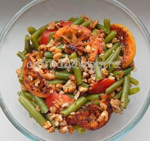 вкусный салат из стручковой фасоли с помидорами, орехами и лимоном, пошаговый рецепт с фотто