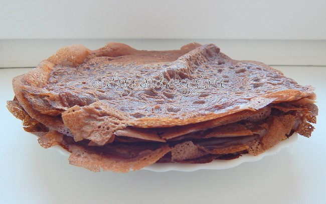 Шоколадные блинчики без яиц постные и на молоке, пошаговый рецепт с фото
