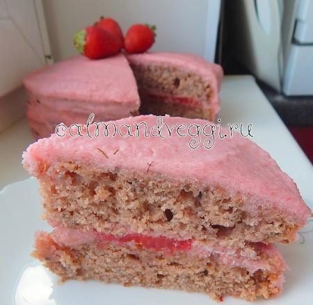 вегетарианский торт с клубникой без яиц пошаговый рецепт с фото
