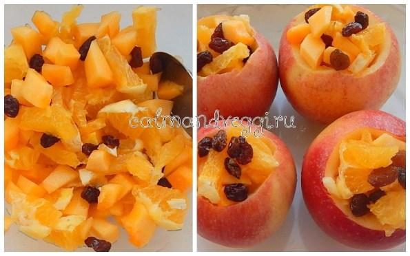 Запеченные яблоки с тыквой, апельсином и изюмом, рецепт с фото