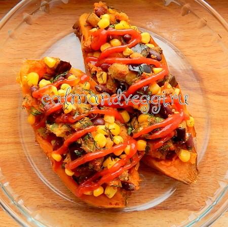 Фаршированный батат запеченный в духовке рецепт с фото