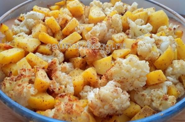 Цветная капуста с картошкой запеченная рецепт с фото