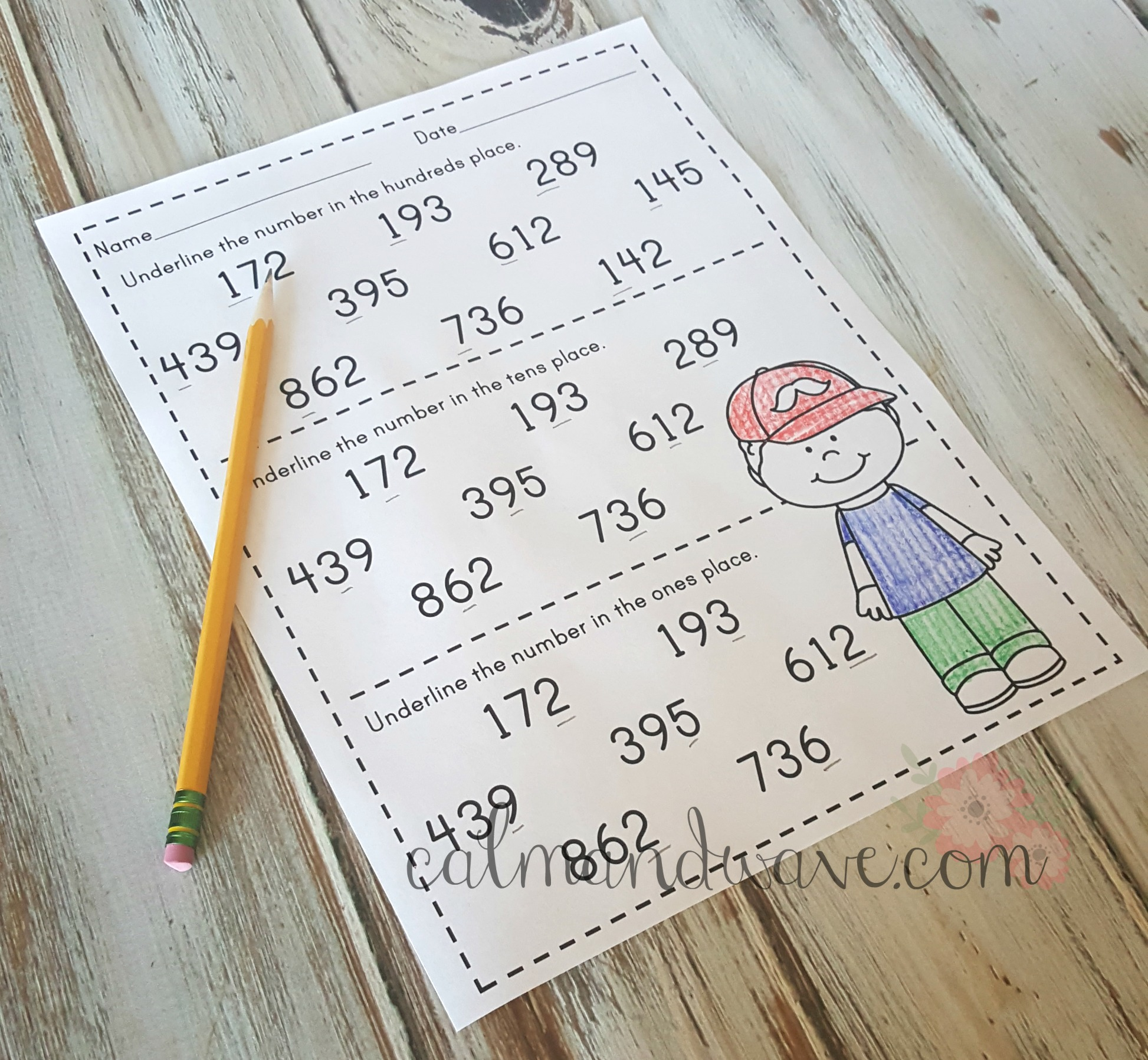 Free Place Value Ones Tens And Hundreds Printable Worksheet