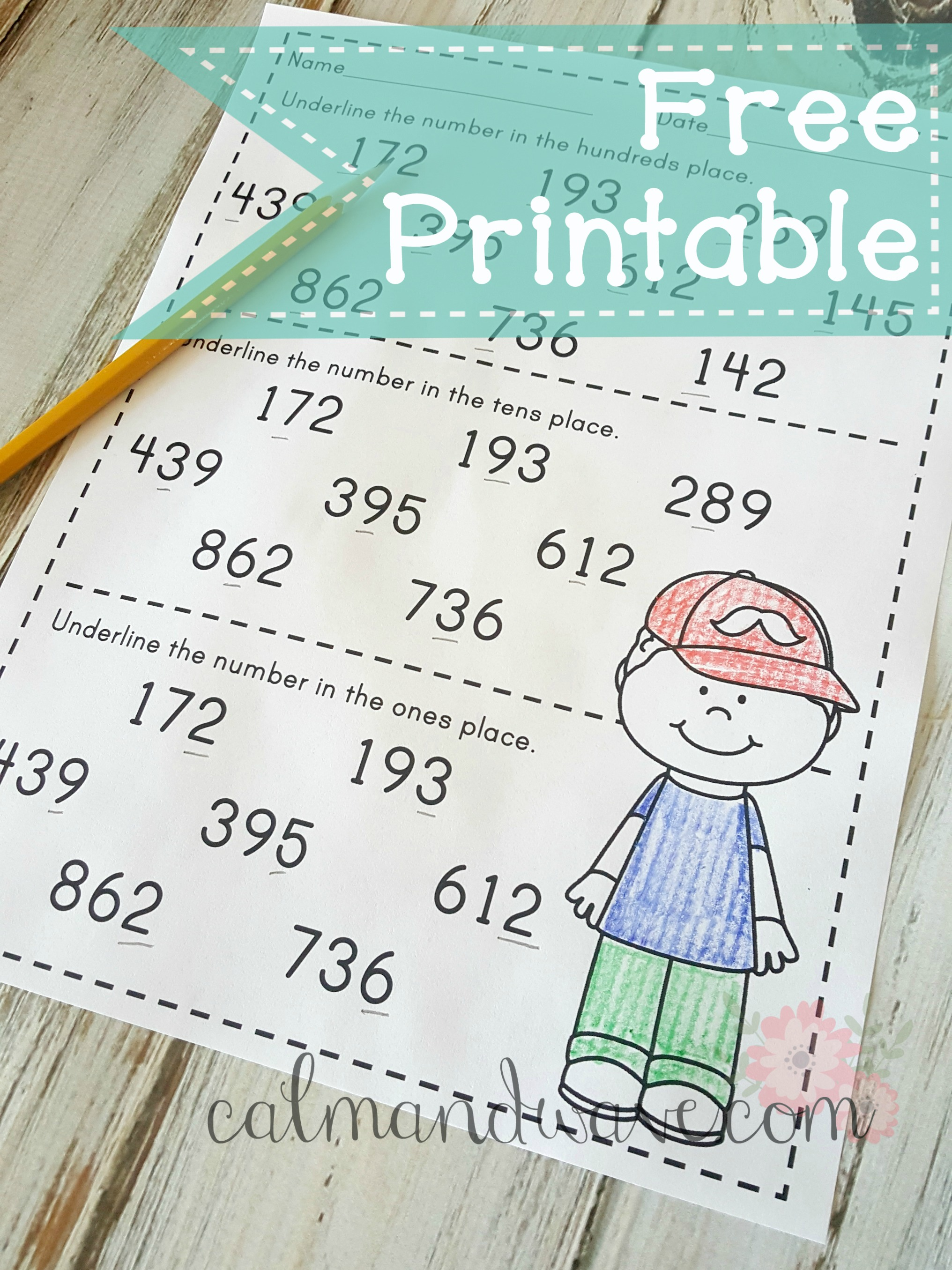 Free Place Value Ones Tens And Hundreds Printable