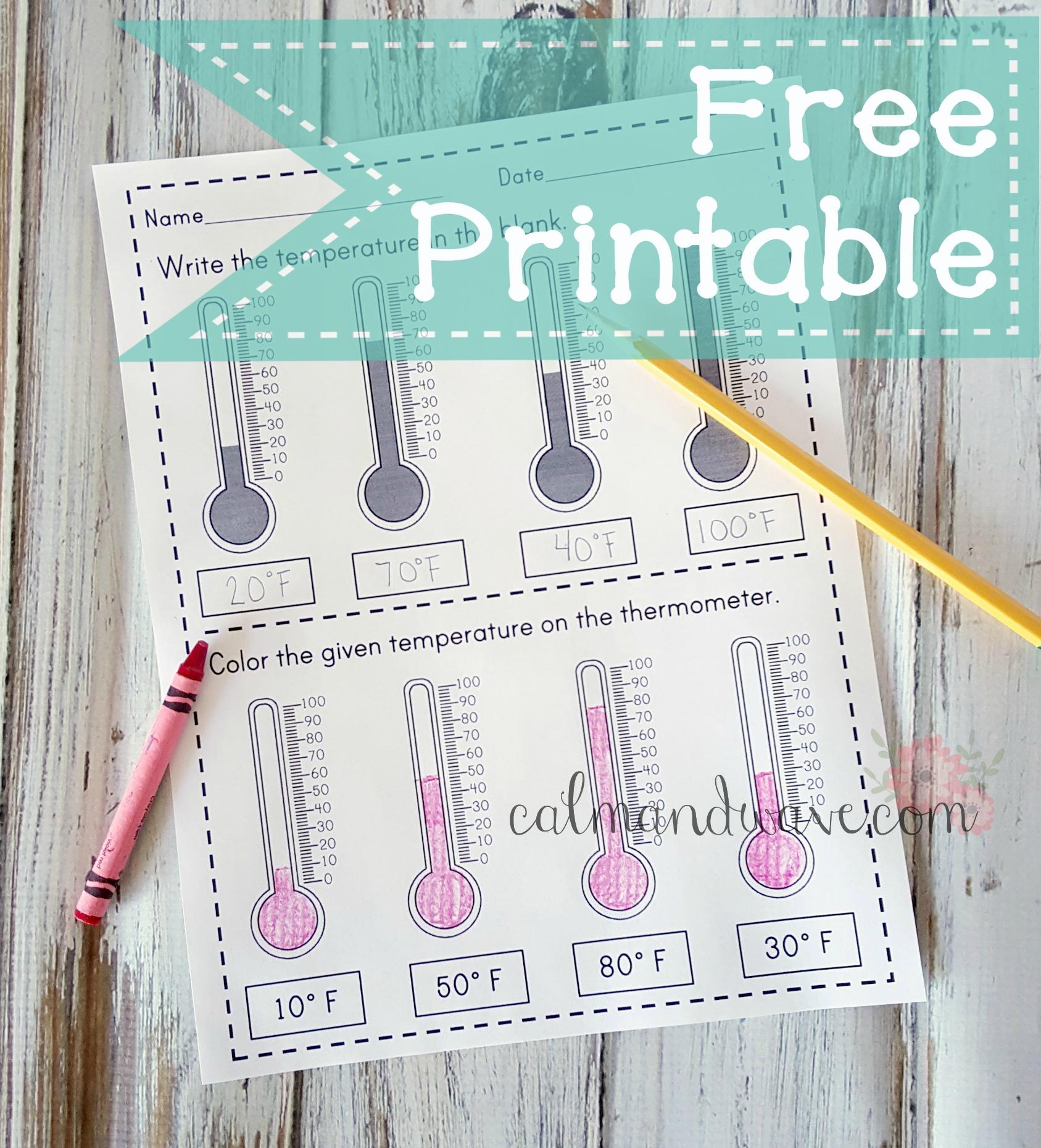 Free Temperature Reading To 10 Degrees Printable Worksheet