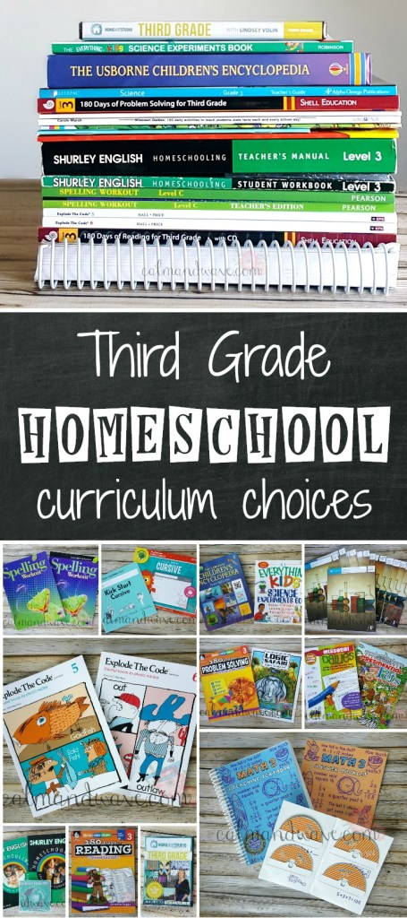 Third Grade homeschool curriculum choices. Selections for Math, Language, Reading, Science, Social Studies, Art, Music, Typing, PE. Unit Studies and workbooks. Teaching Textbooks, Shurley, Usborne, Explode the Code, 180 days, Spelling.
