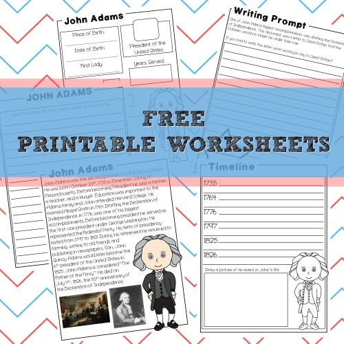 John Adams printables free unit study presidents calm and wave printables